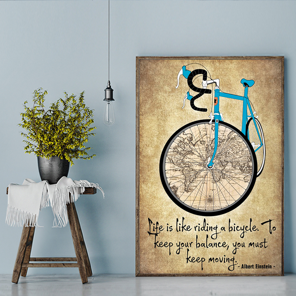 Cycling life is like riding a bicycle poster A1