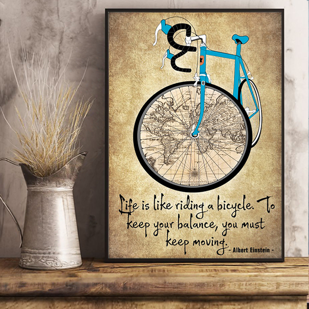 Cycling life is like riding a bicycle poster A2