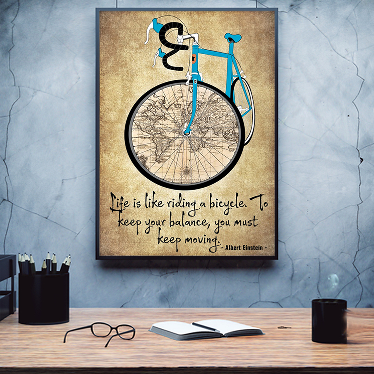 Cycling life is like riding a bicycle poster A3