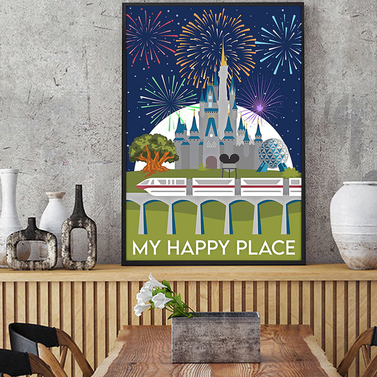 Disneyland My happy place poster A3
