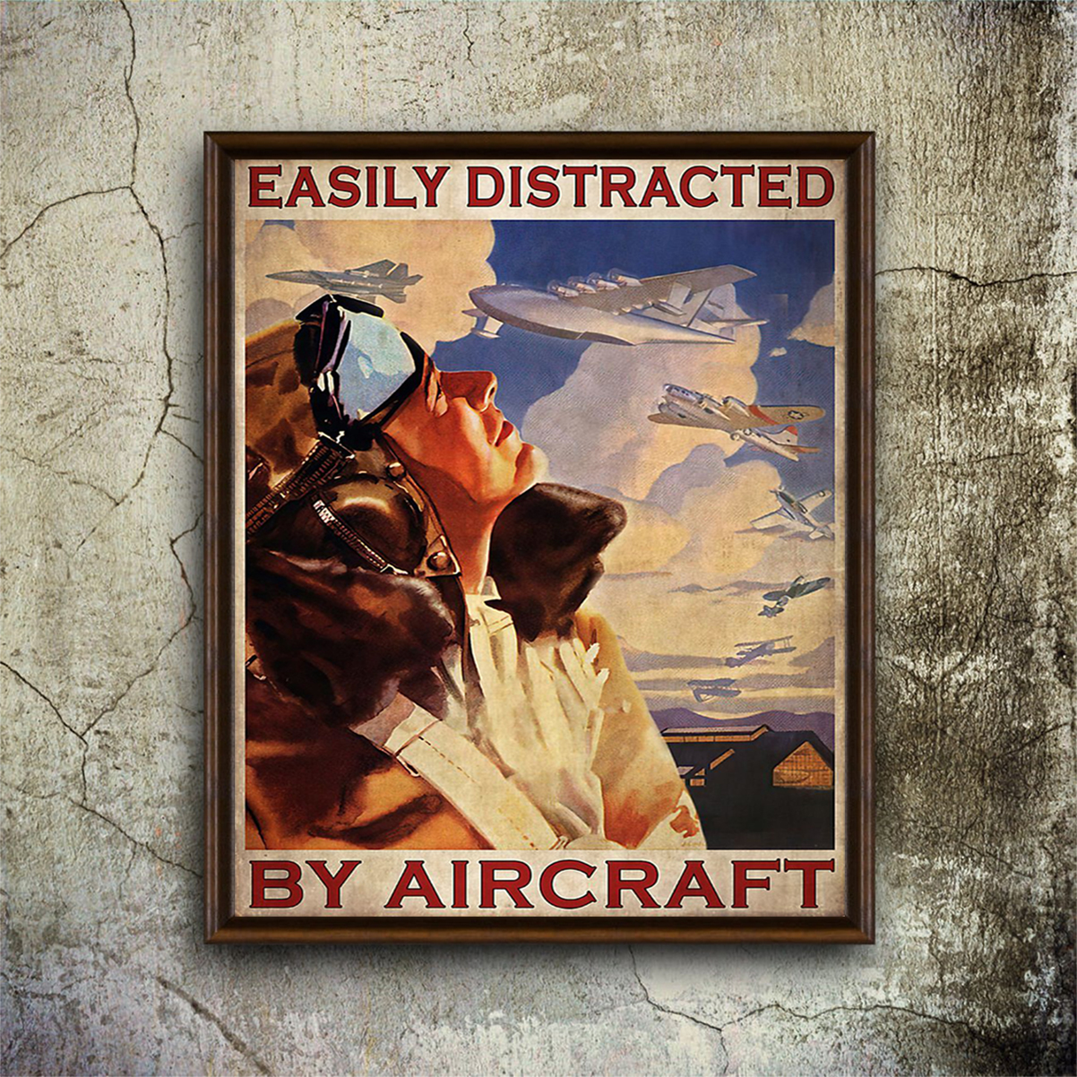 Easily distracted by aircraft poster A1