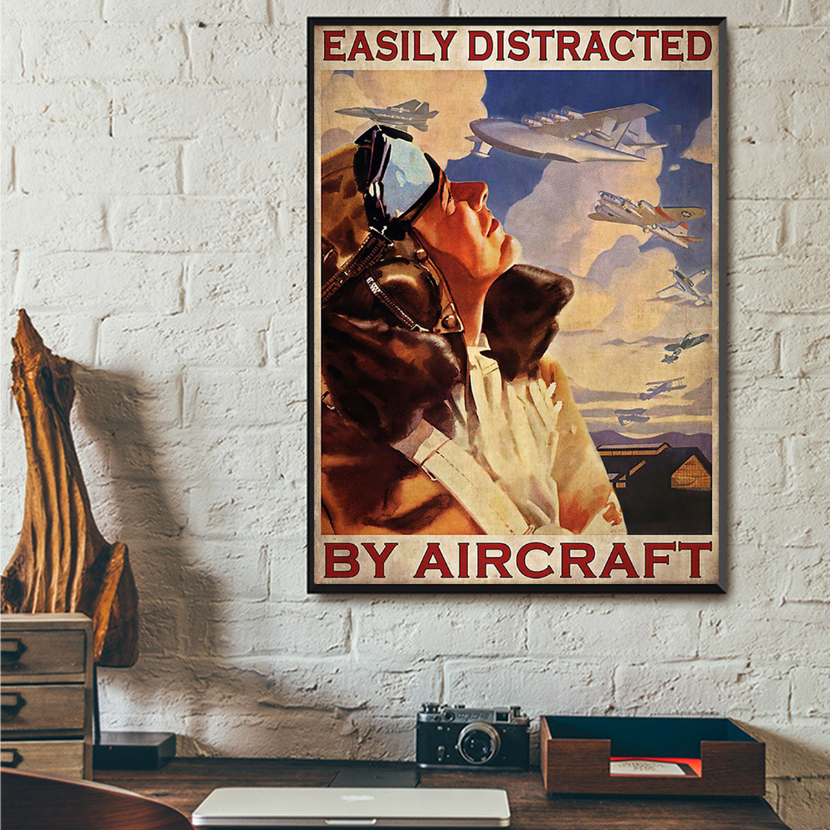 Easily distracted by aircraft poster A3