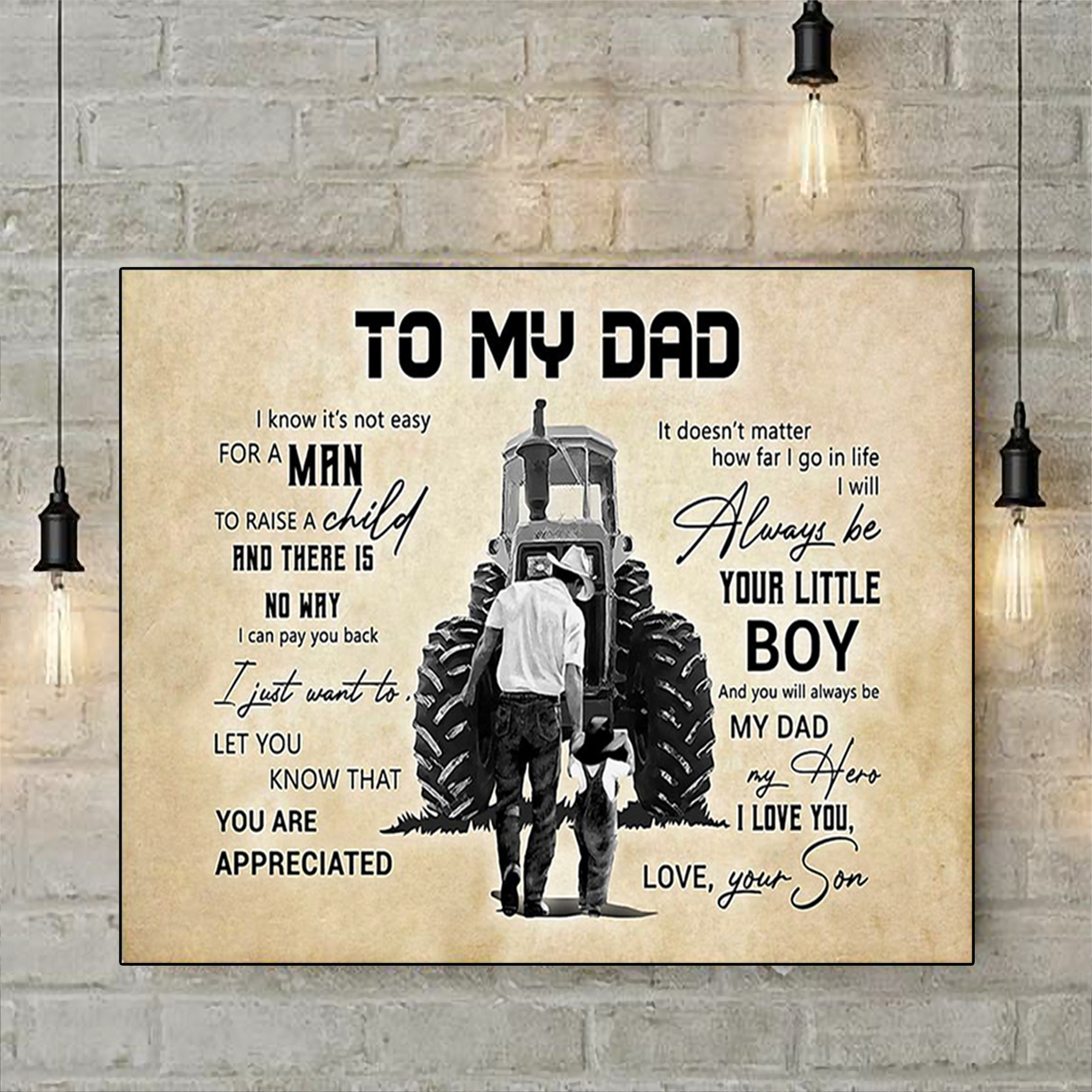 Farmer tractor to my dad your son poster A2