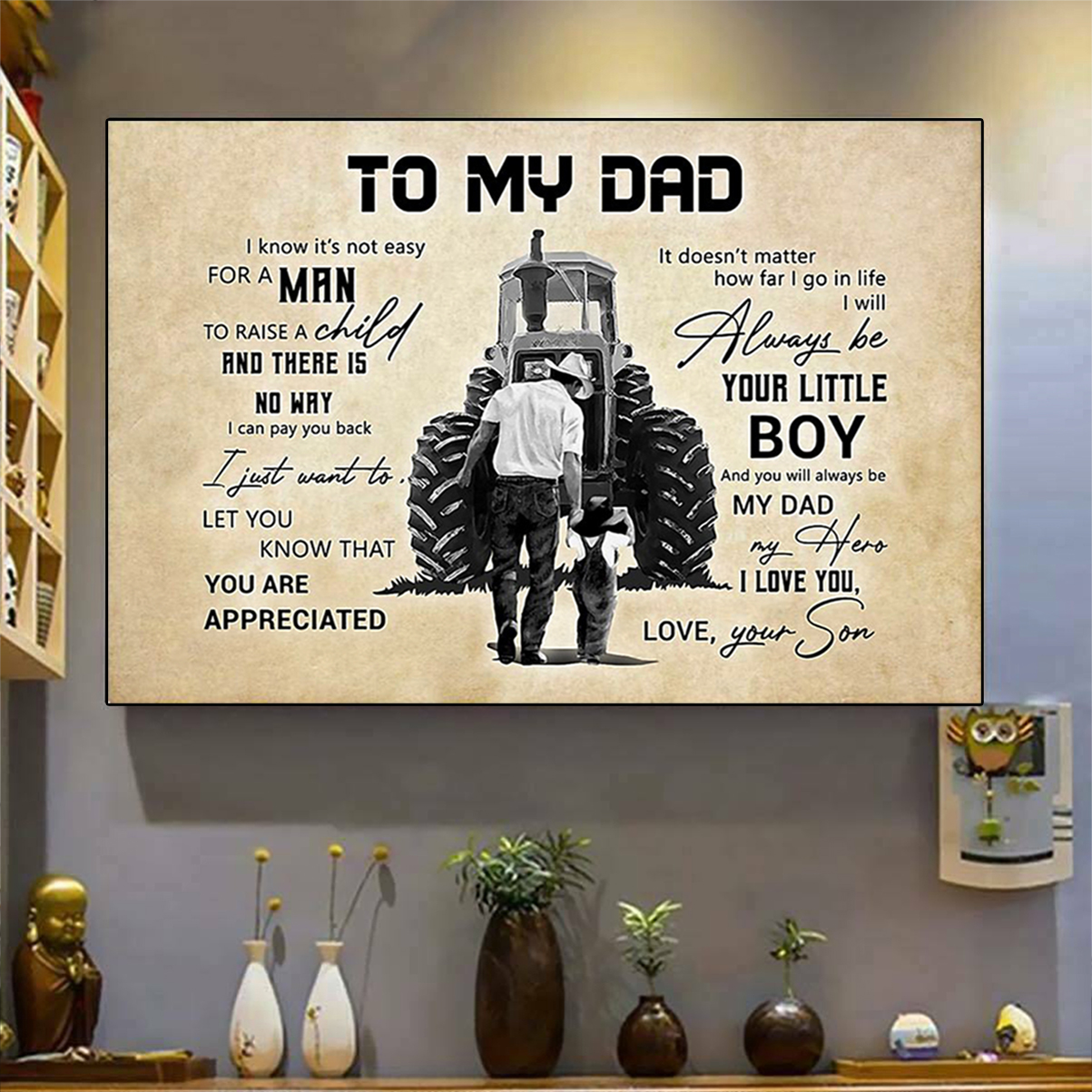 Farmer tractor to my dad your son poster A3