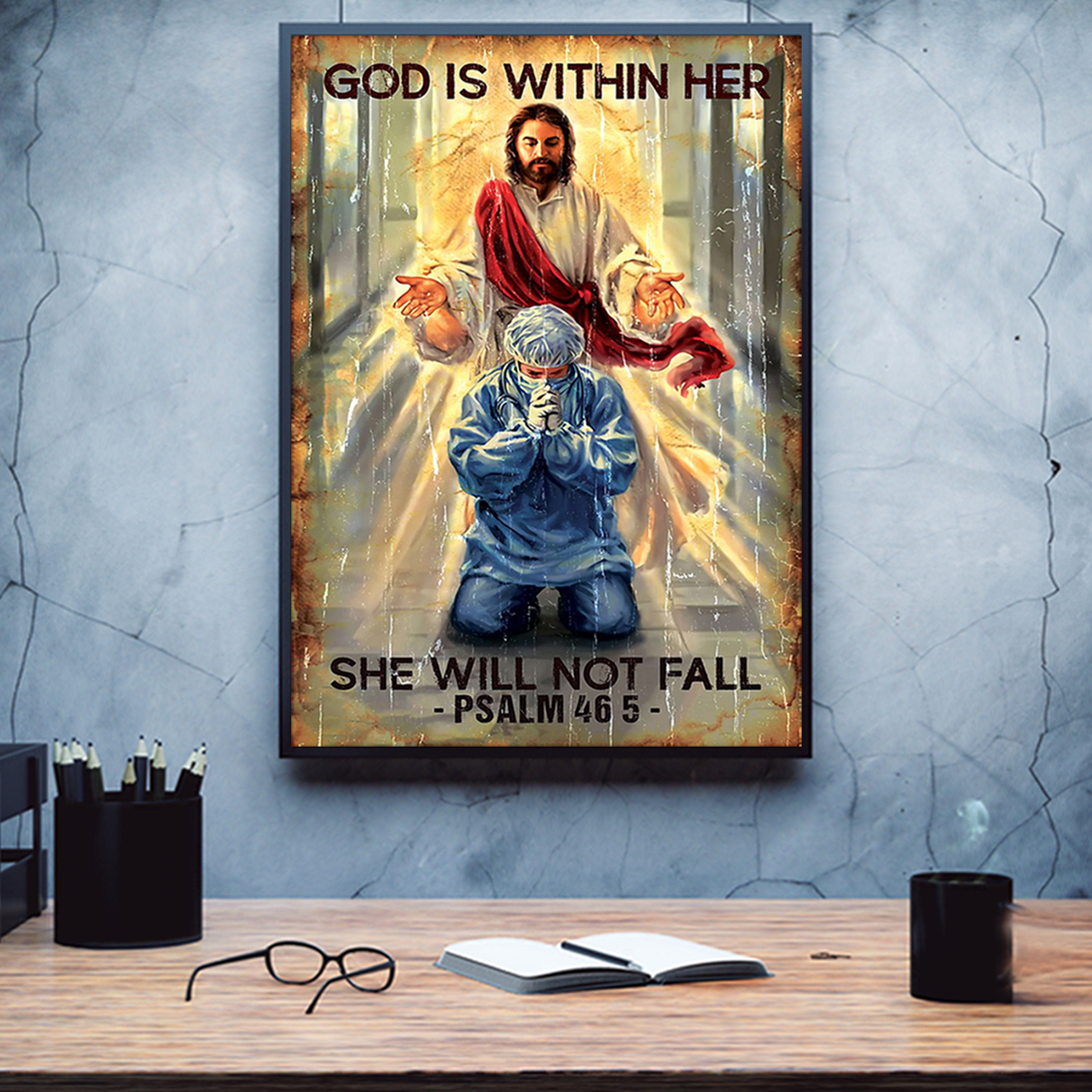 God is within her she will not fall poster A3