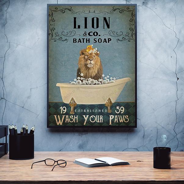 Lion co bath soap wash your paws poster A2