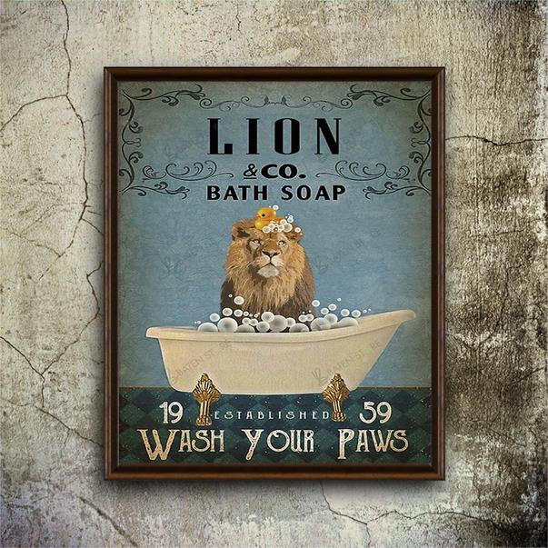 Lion co bath soap wash your paws poster A3