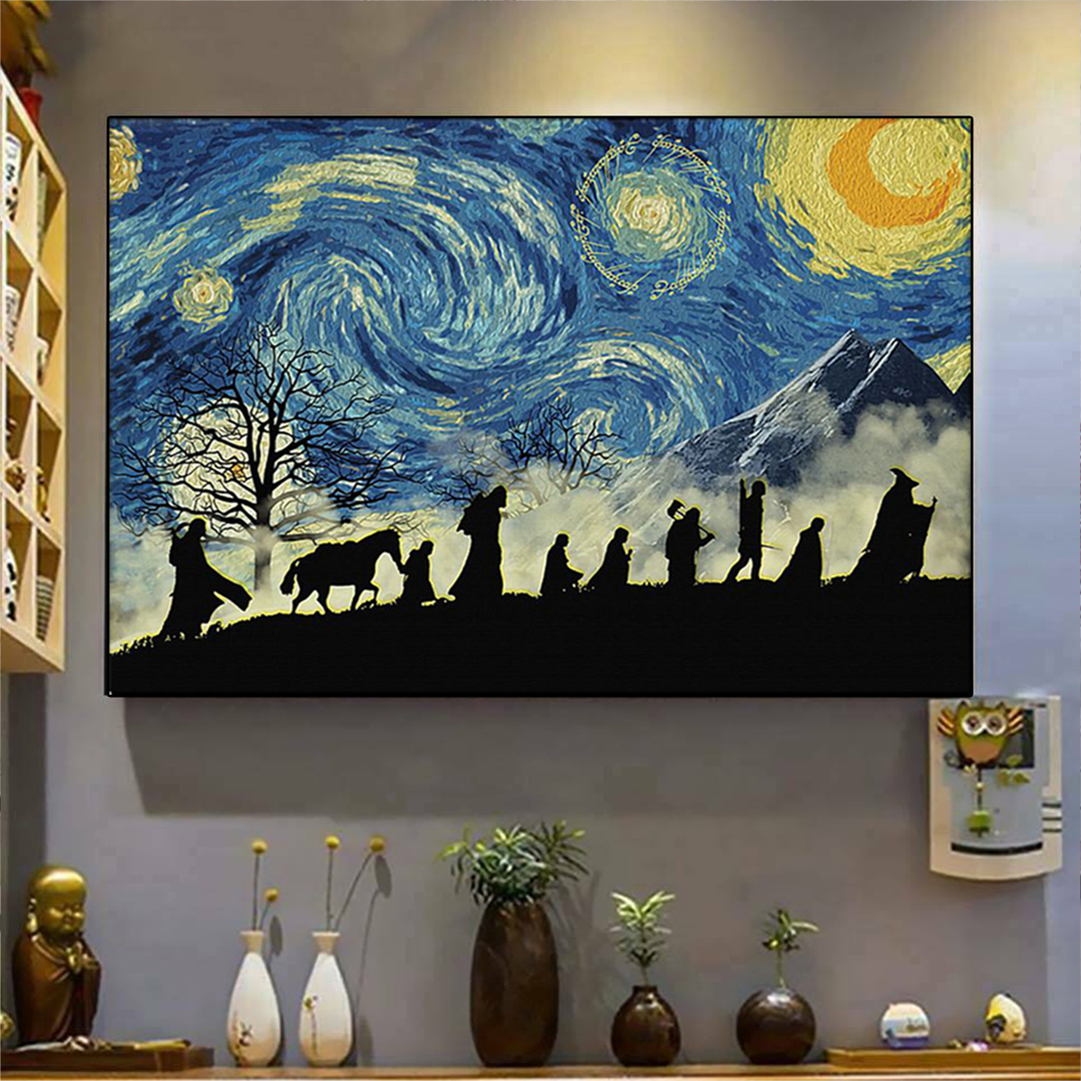 Lord Of The Rings Starry Night Van Gogh Poster A1