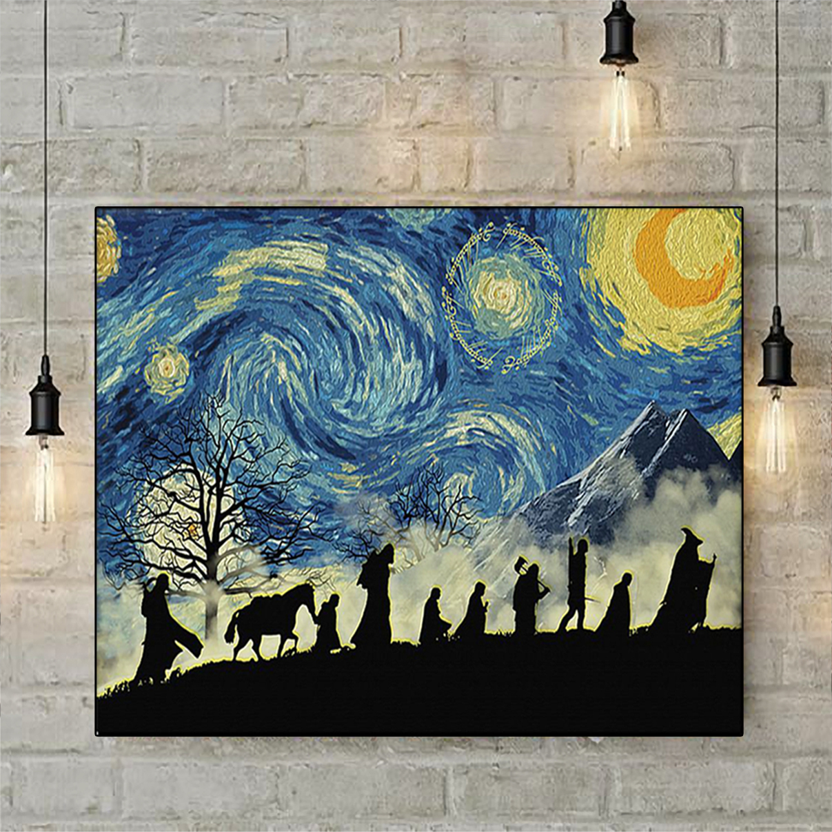 Lord Of The Rings Starry Night Van Gogh Poster A3