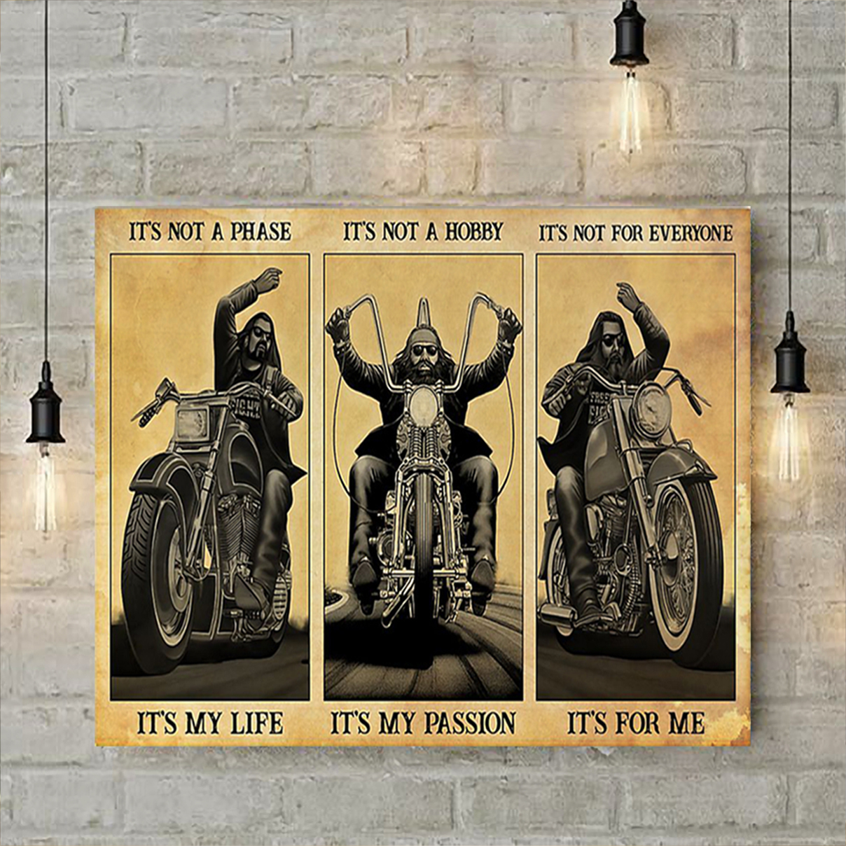 Man motorcycle it's not a phase it's my life poster A2