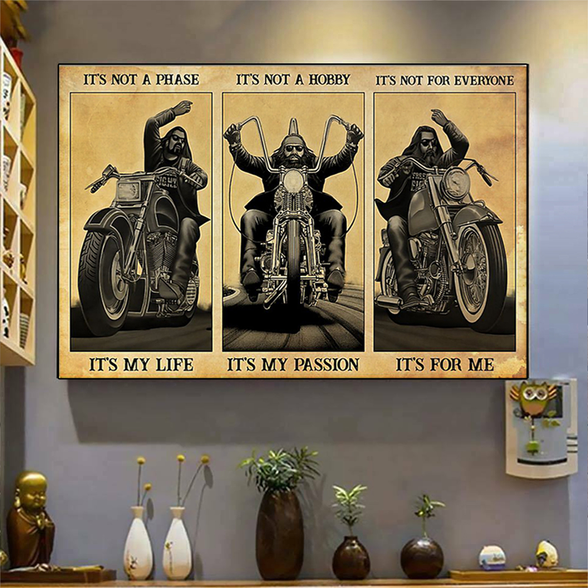 Man motorcycle it's not a phase it's my life poster A3