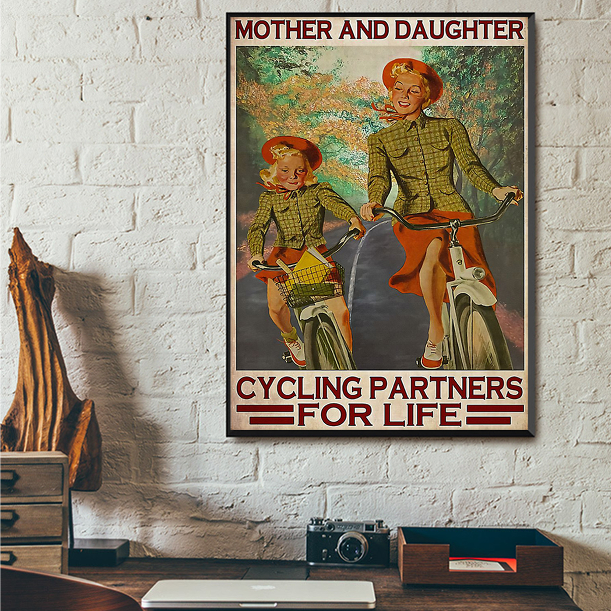 Mother and daughter cycling partners for life poster A1