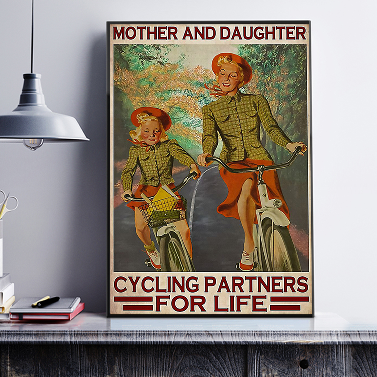 Mother and daughter cycling partners for life poster A3