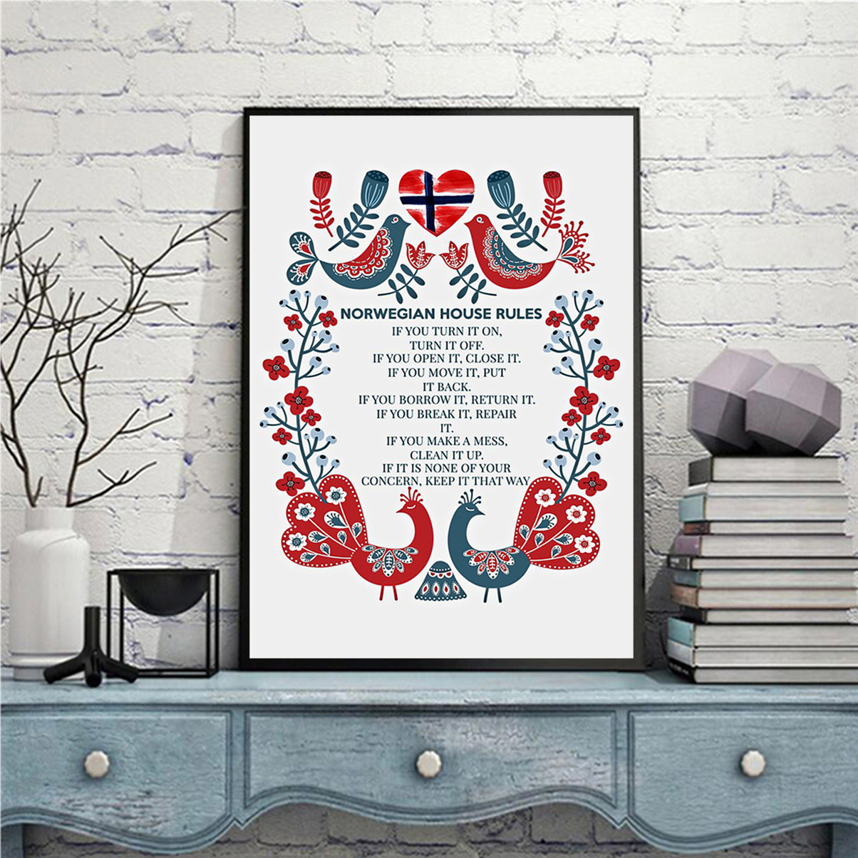 Norwegian house rules poster A1