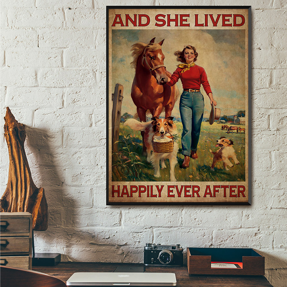 Poster horse and dog and she lived happily ever after A1