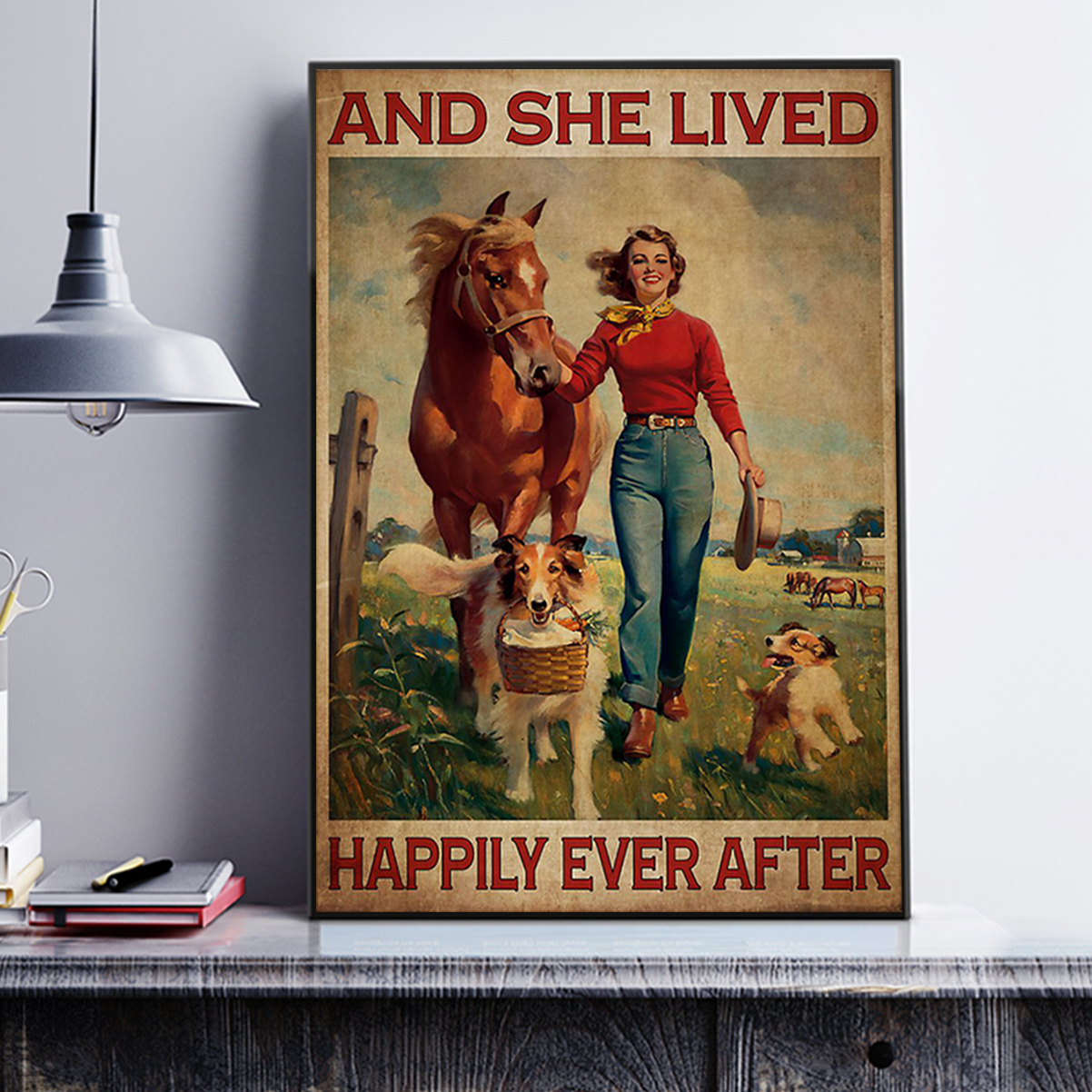 Poster horse and dog and she lived happily ever after A3