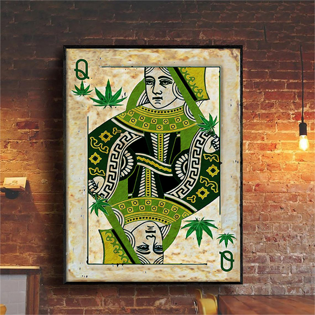 Queen card weed cannabis poster A1