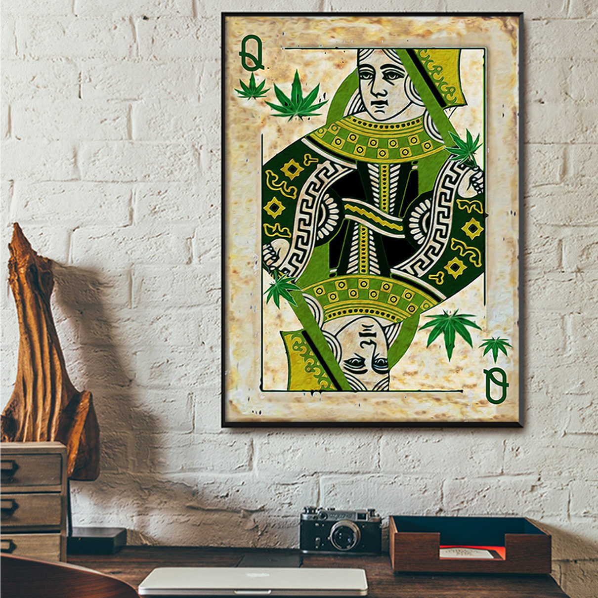 Queen card weed cannabis poster A2
