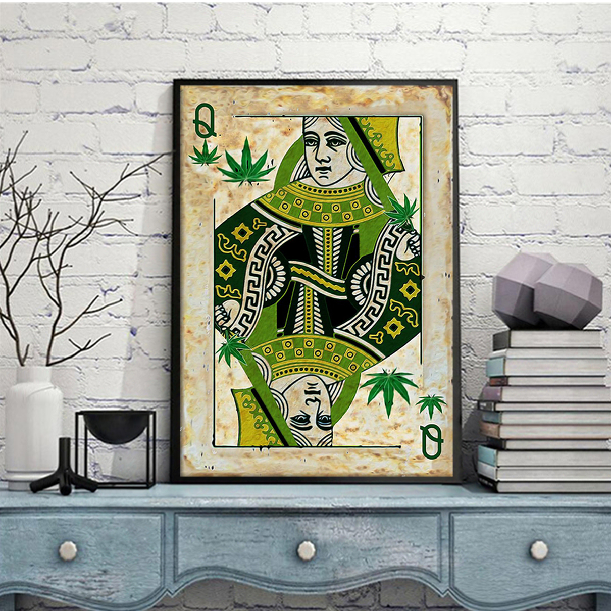 Queen card weed cannabis poster A3