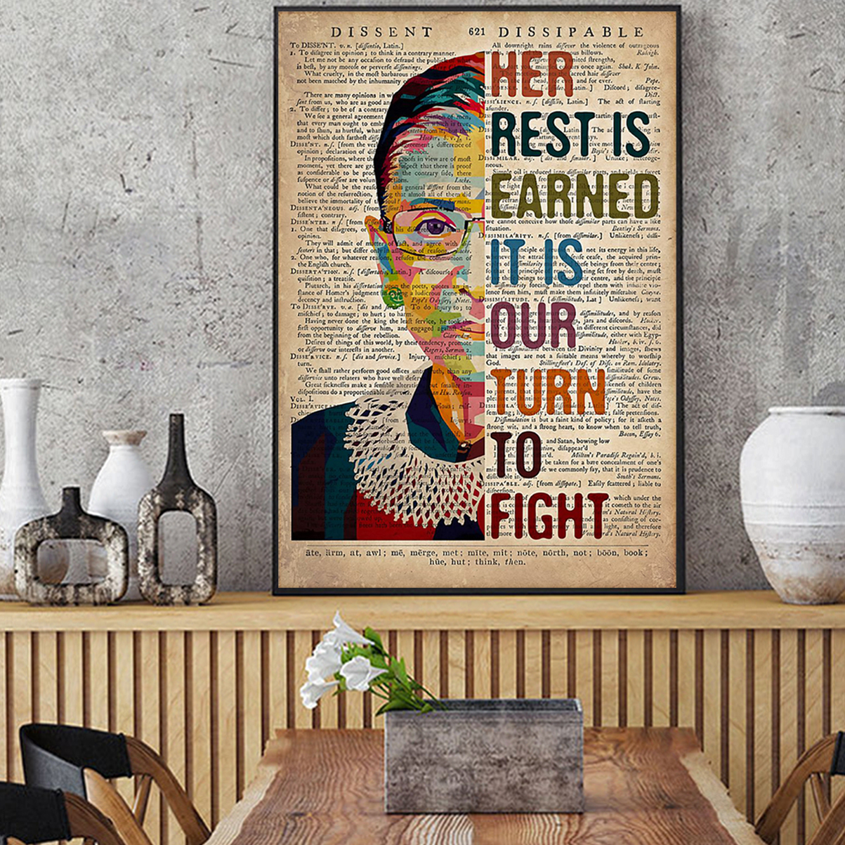 RBG her rest is earned it is our turn to fight poster A2