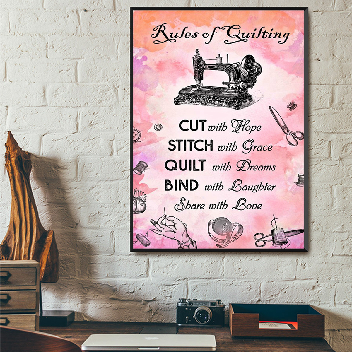 Sewing rules of quilting poster A1