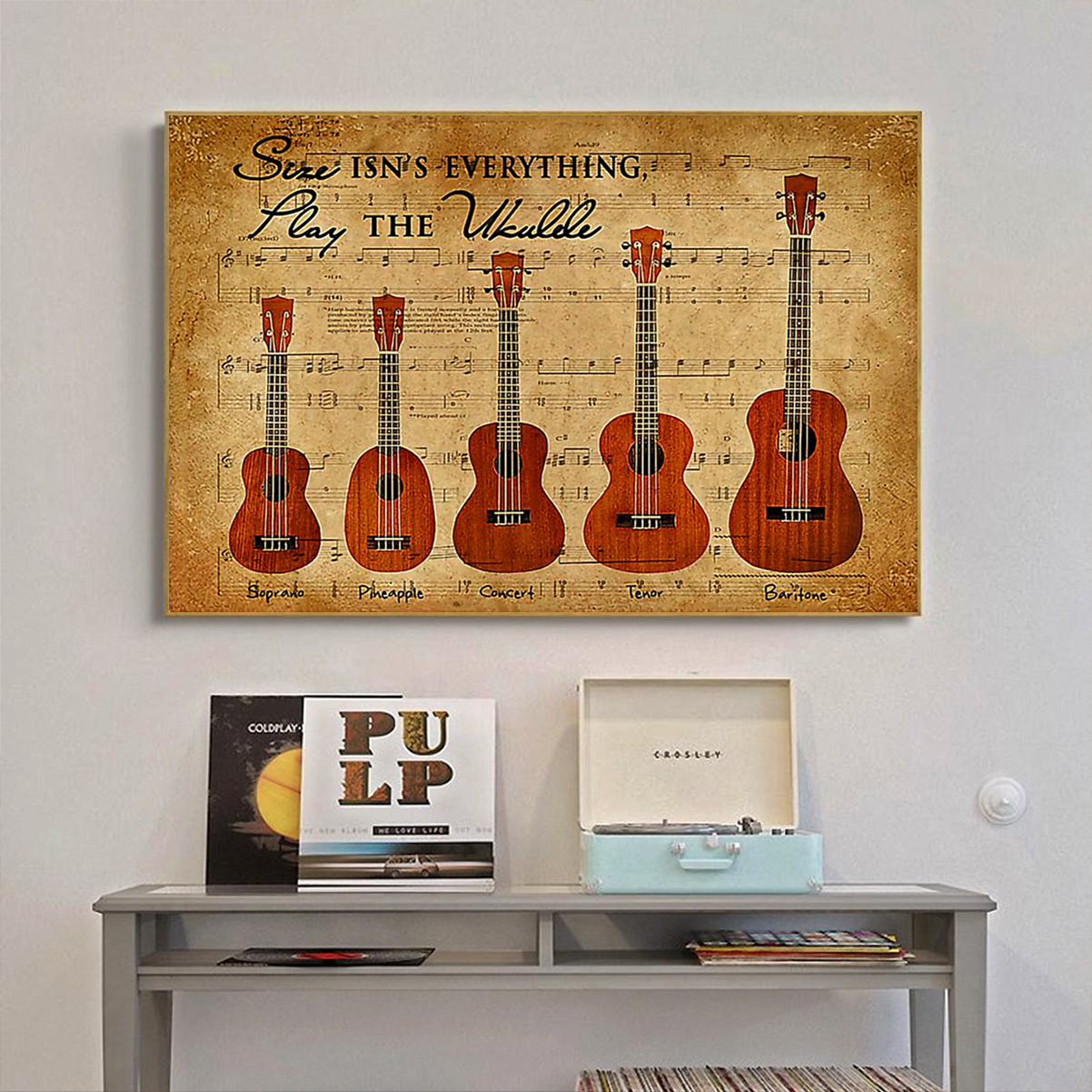 Size isn't everything play the ukulele poster A1