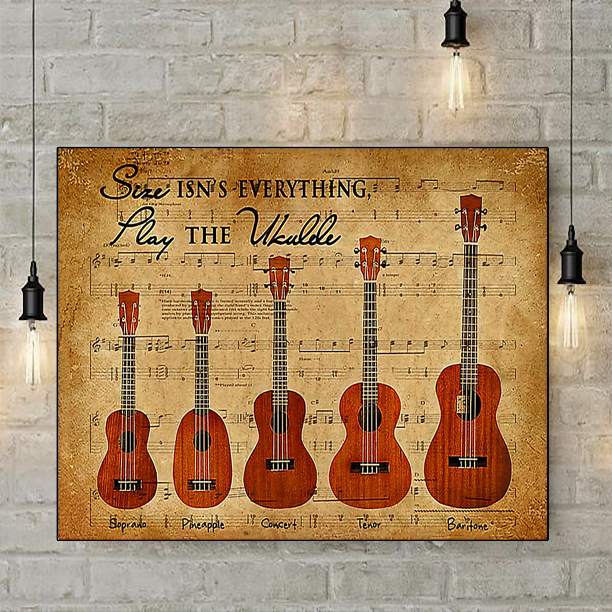 Size isn't everything play the ukulele poster A2