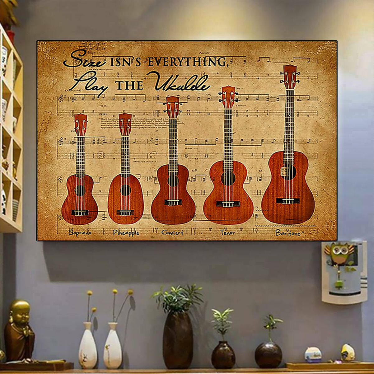 Size isn't everything play the ukulele poster A3
