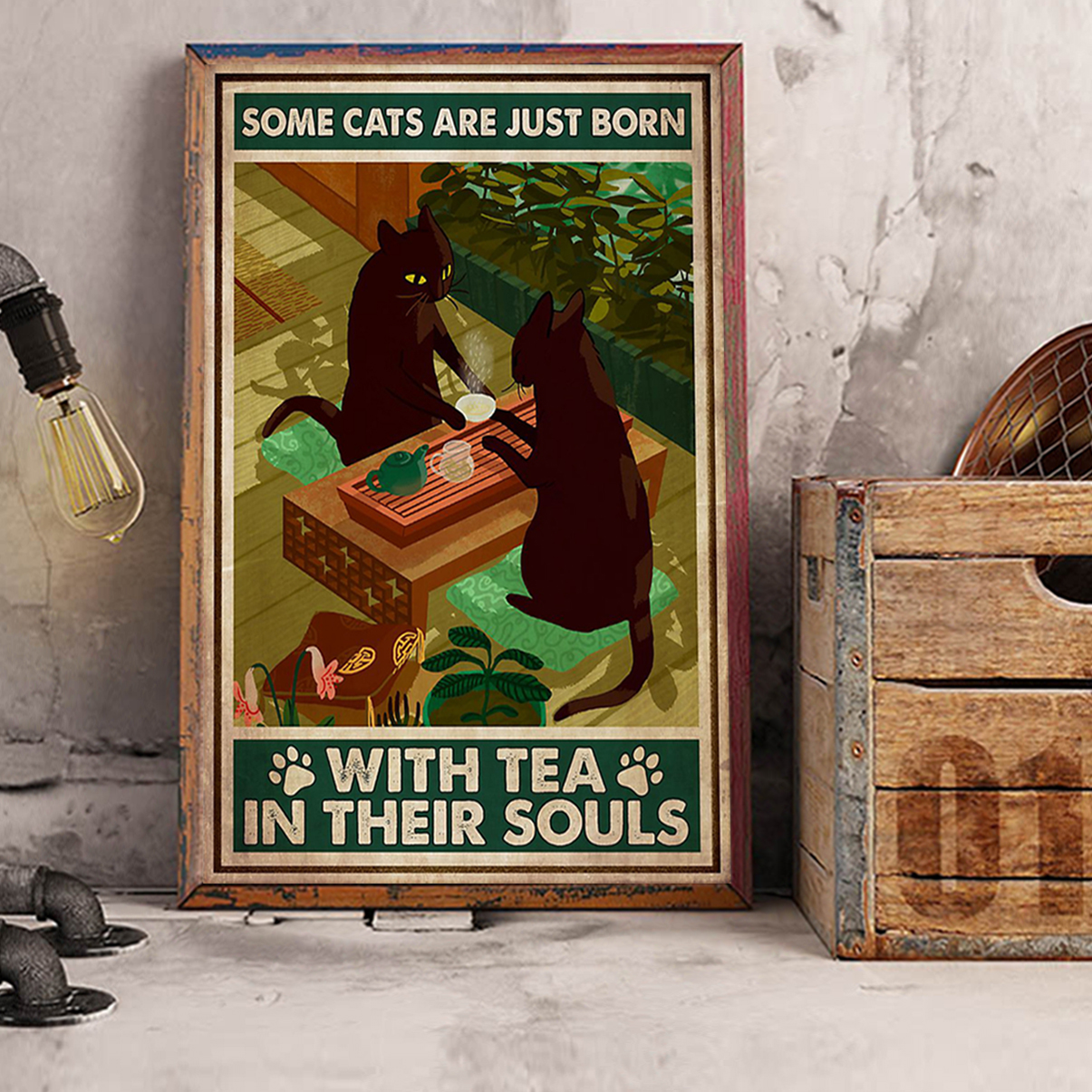 Some cats are just born with tea in their souls poster A2