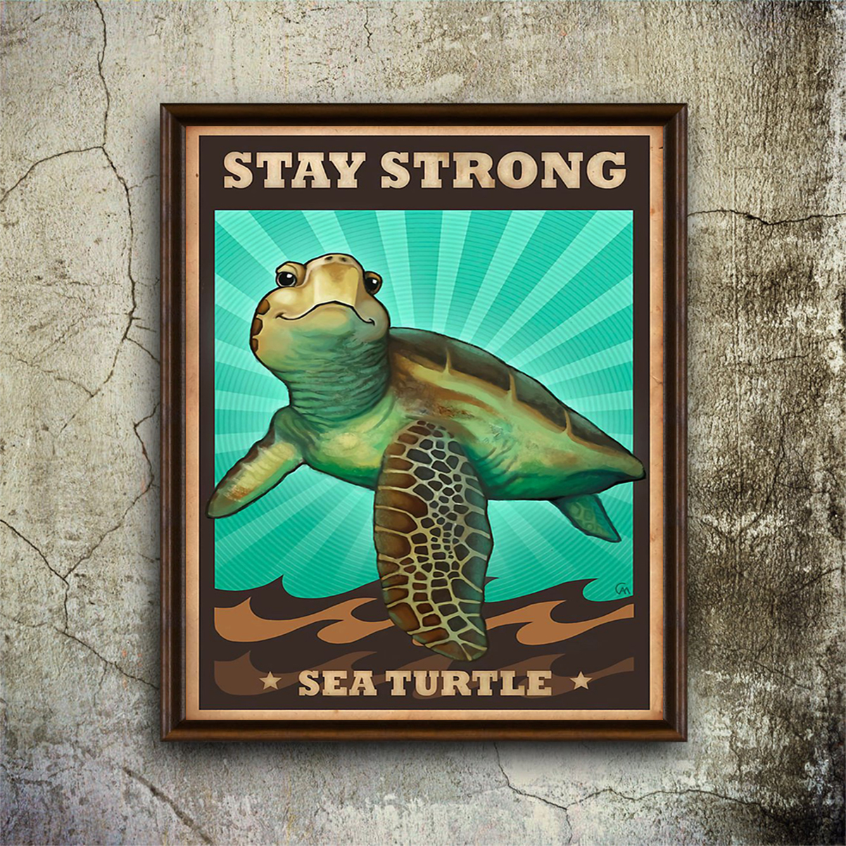 Stay strong sea turtle poster A1