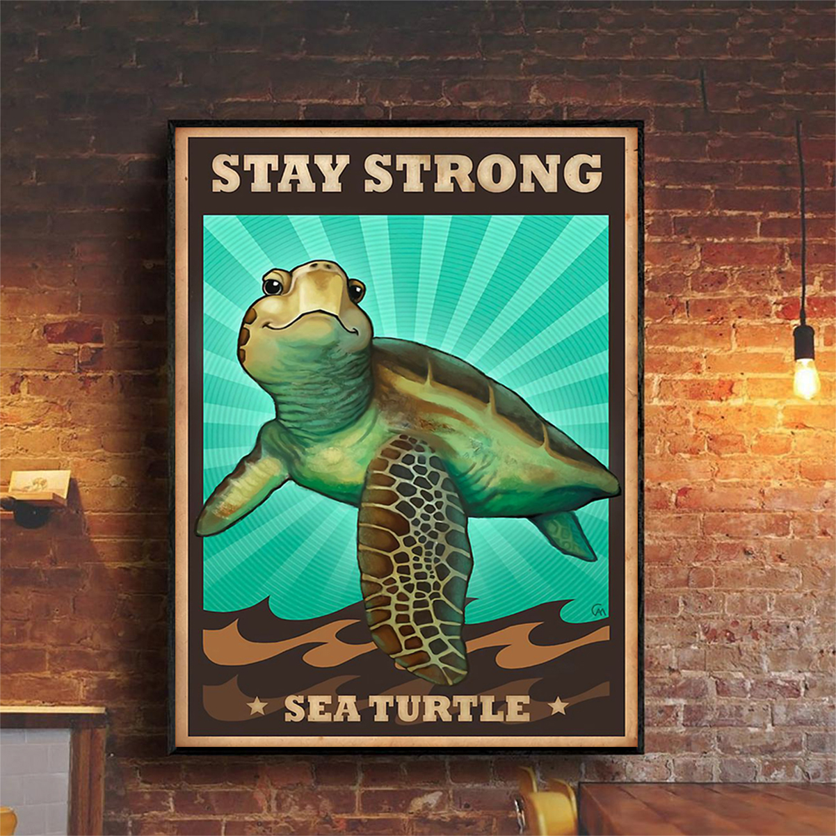 Stay strong sea turtle poster A2