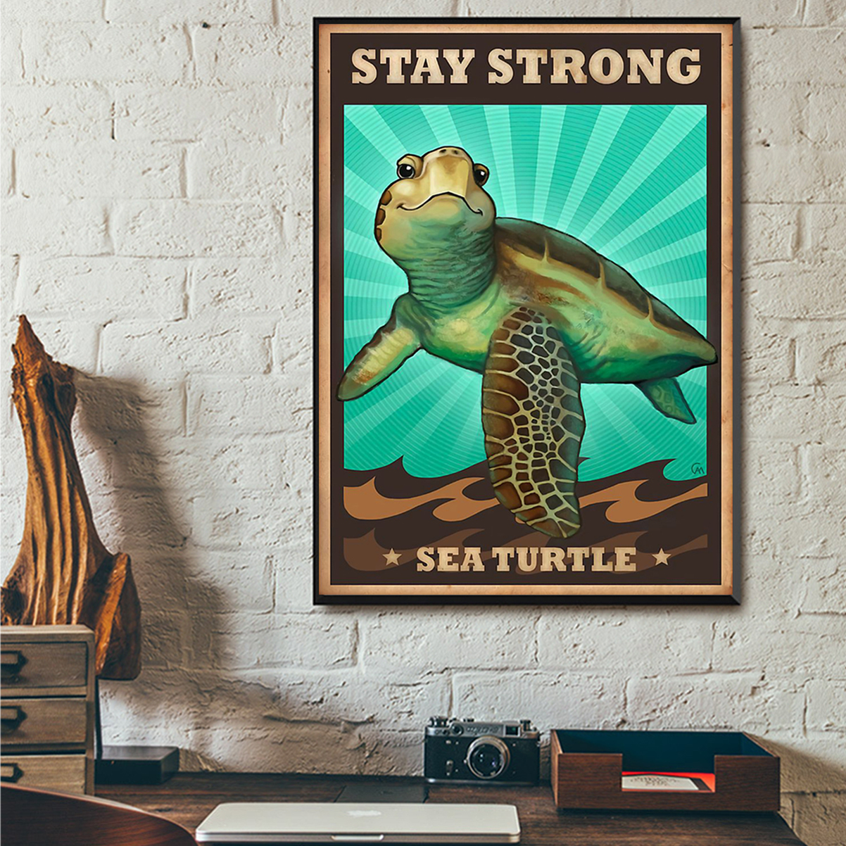Stay strong sea turtle poster A3