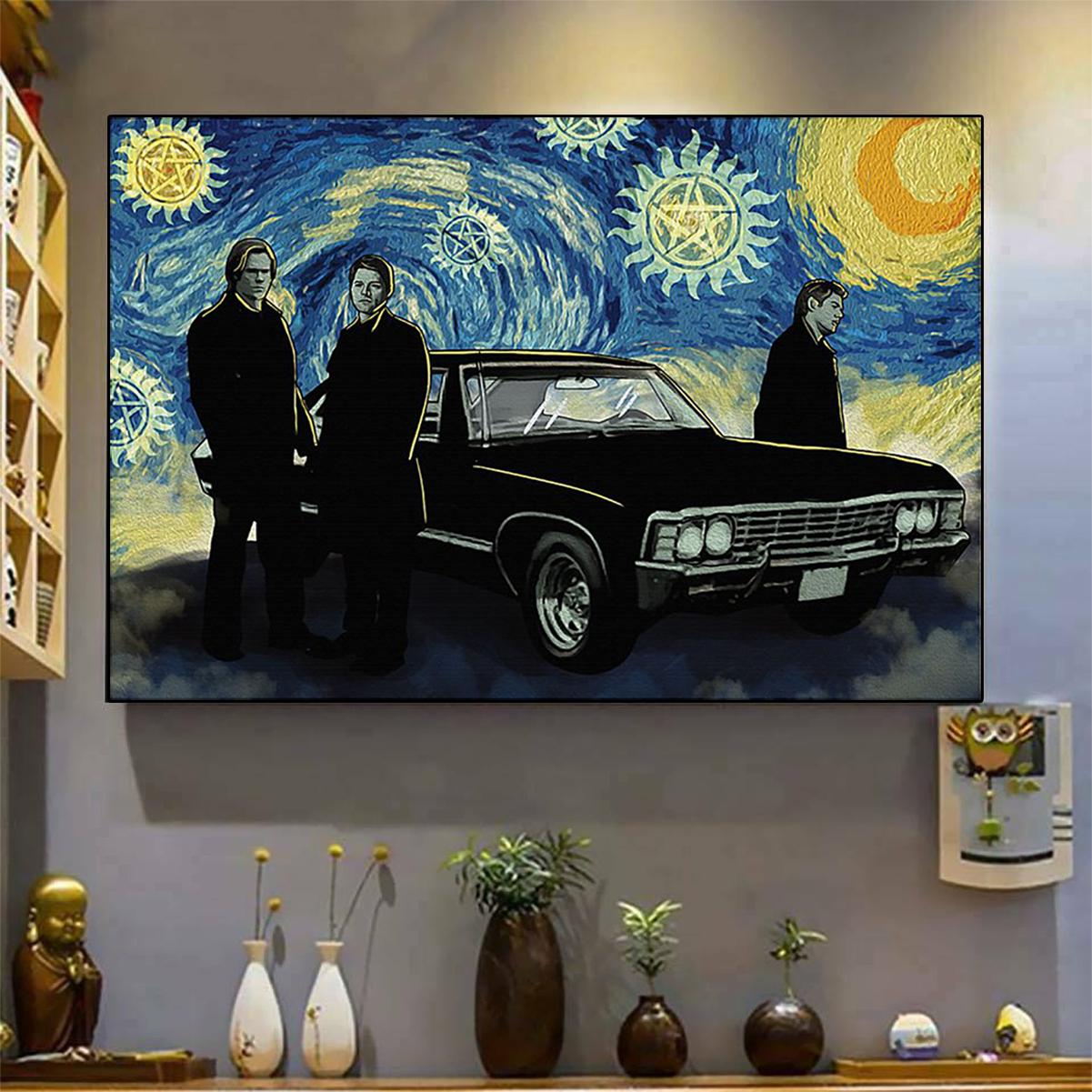 Supernatural starry night van gogh poster A3