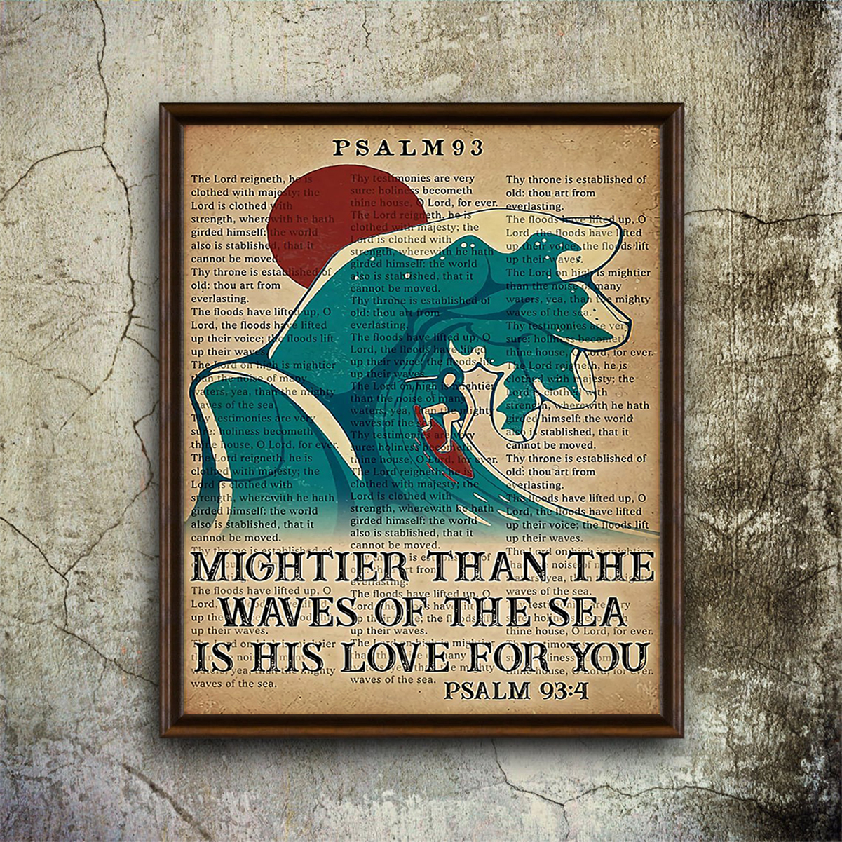 Surfing mightier than the waves of the sea is his love for you poster A1