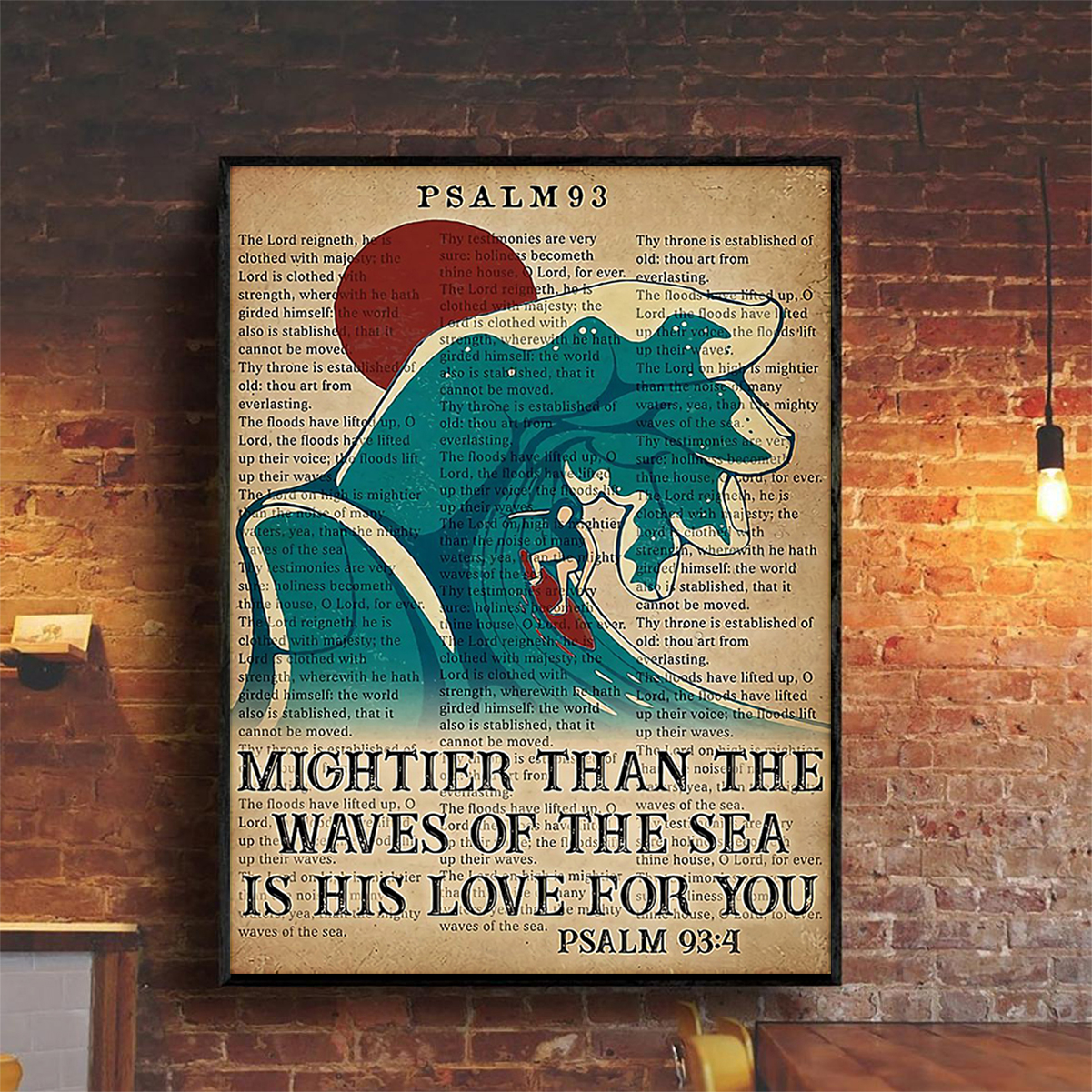 Surfing mightier than the waves of the sea is his love for you poster A2