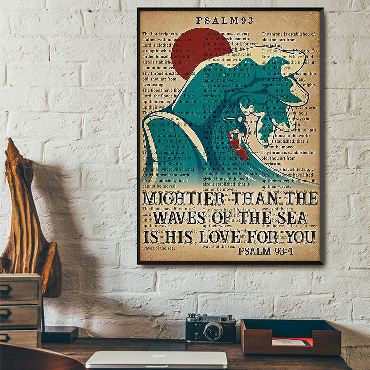 Surfing mightier than the waves of the sea is his love for you poster A3