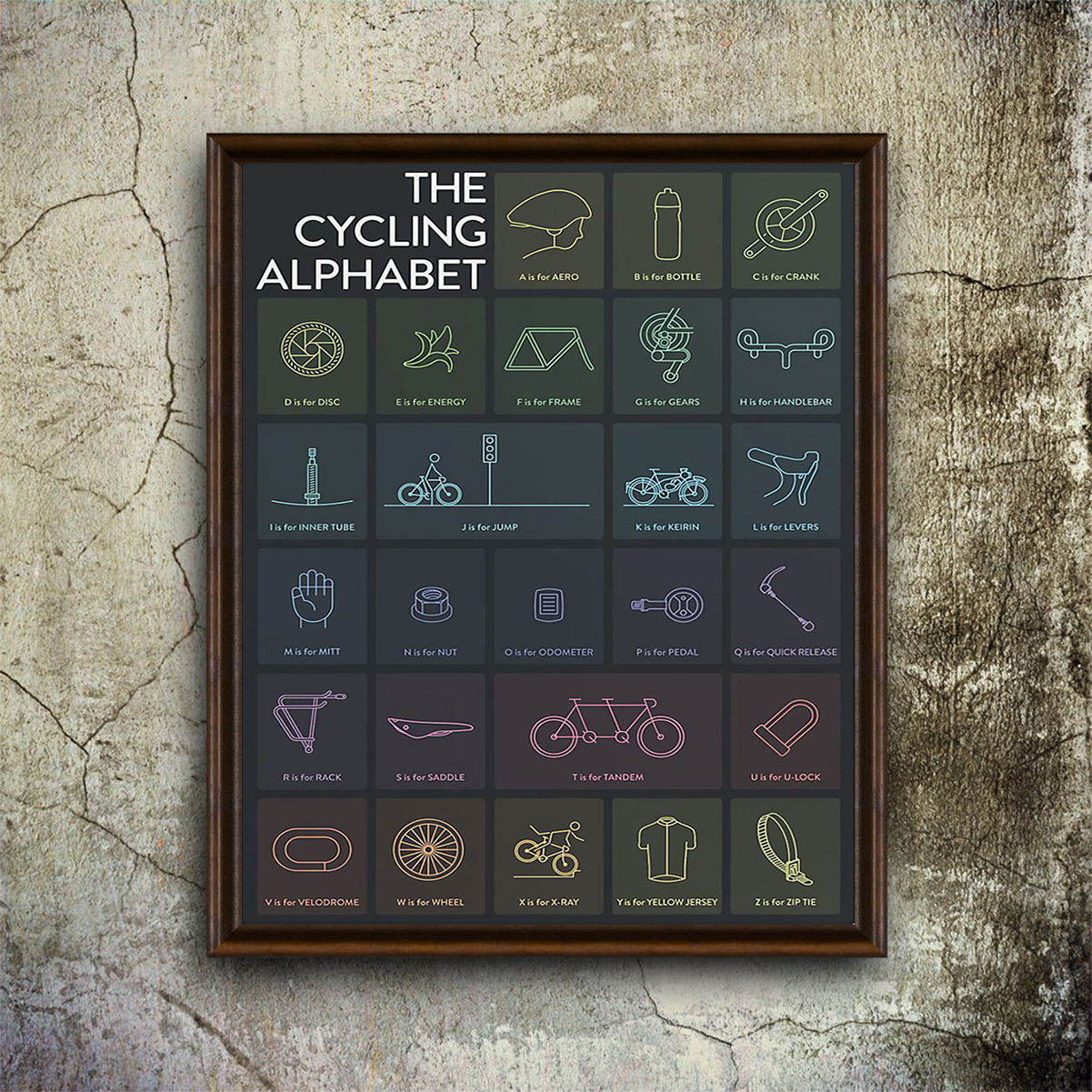 The cycling alphabet poster A1