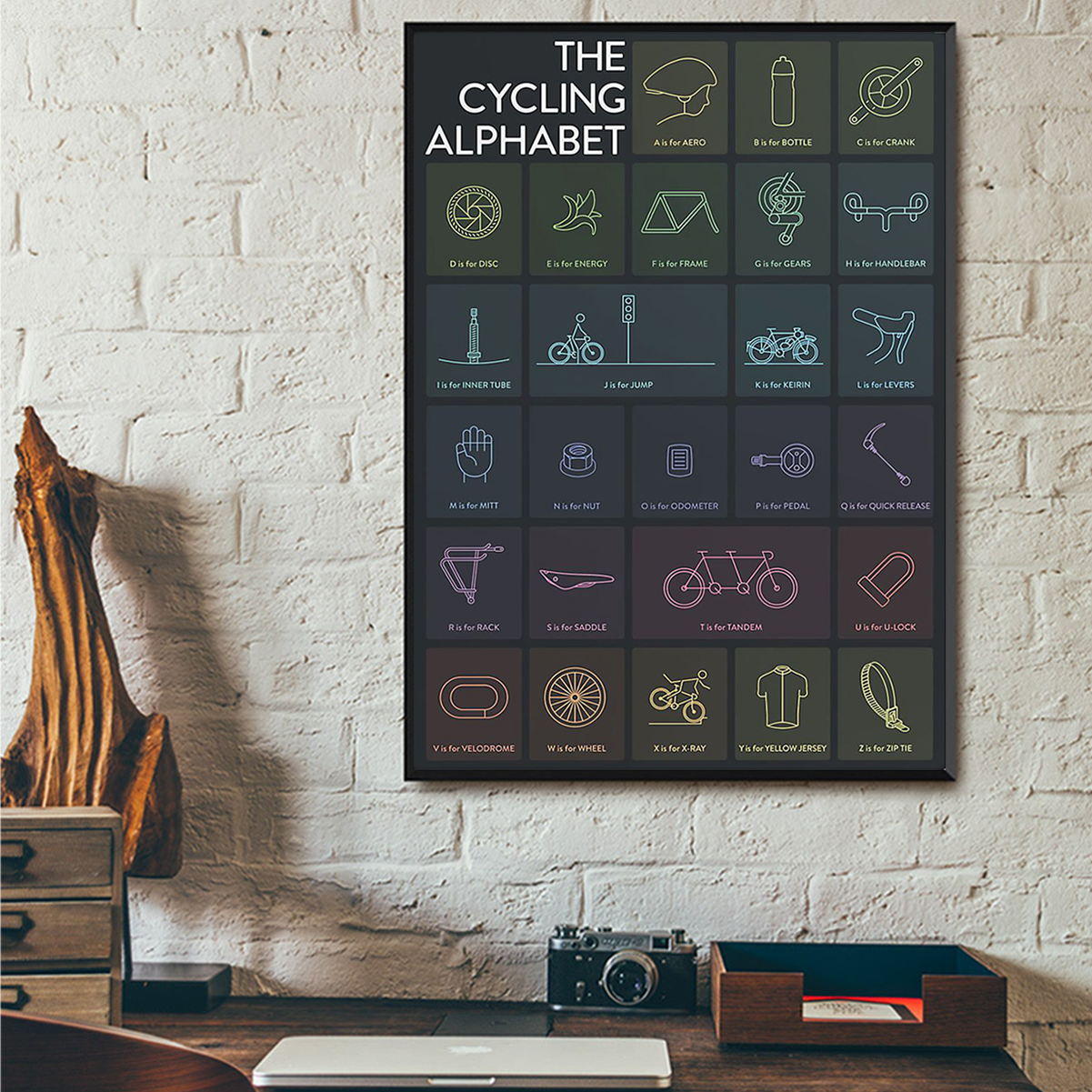 The cycling alphabet poster A3