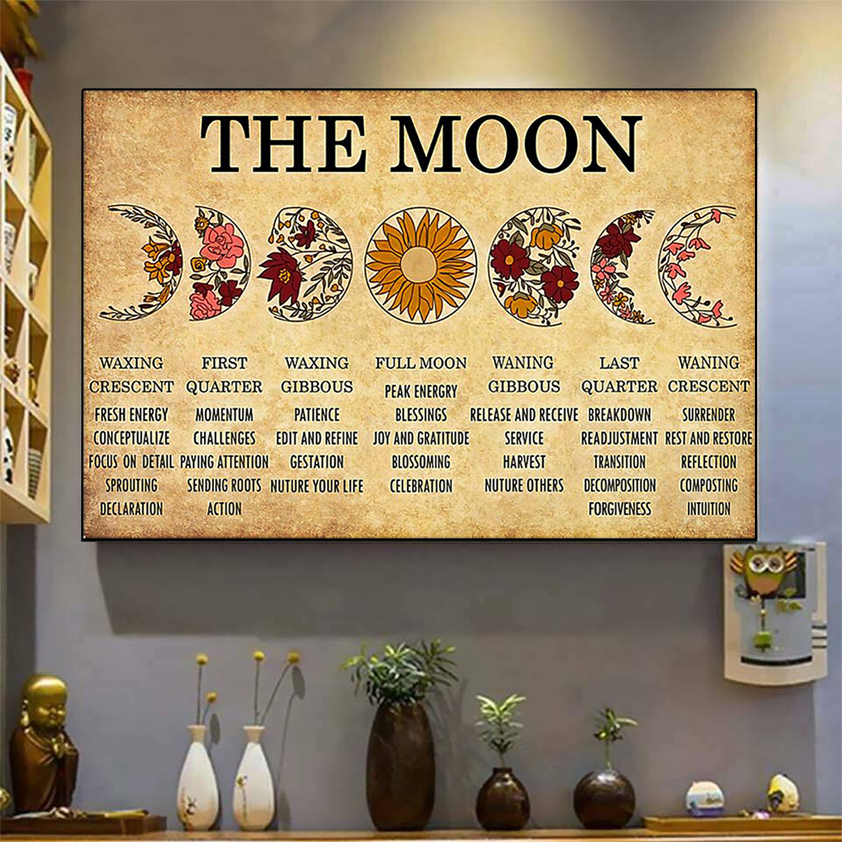 The moon waxing crescent first quarter poster A3