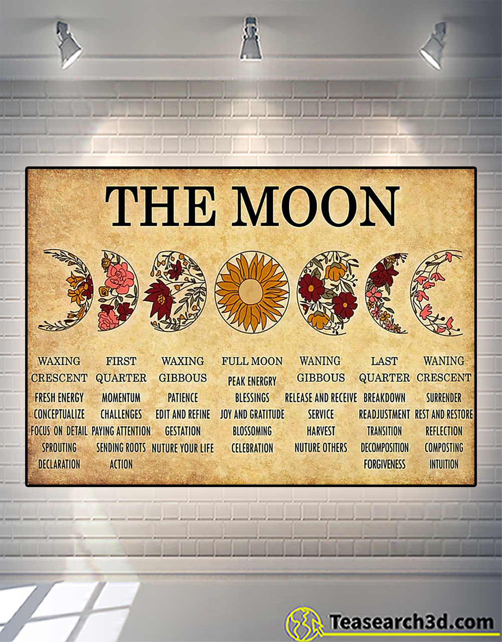The moon waxing crescent first quarter poster
