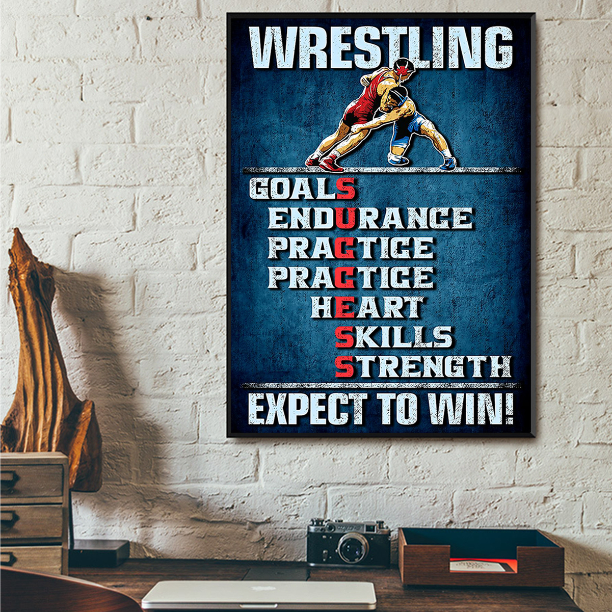 Wrestling expect to win poster A3