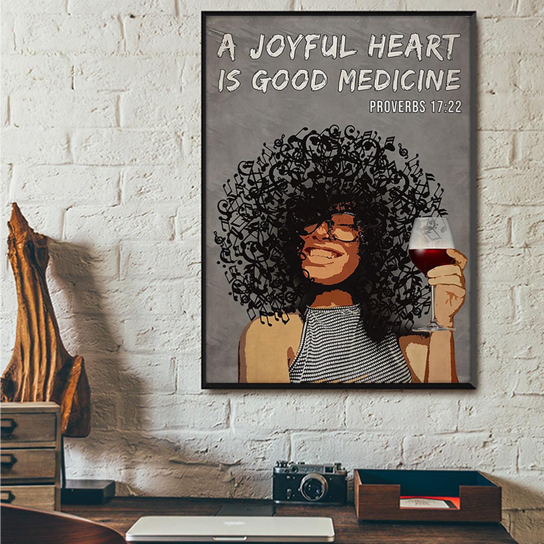 Afro girl a joyful heart is good medicine poster A1
