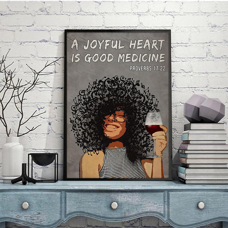 Afro girl a joyful heart is good medicine poster A2