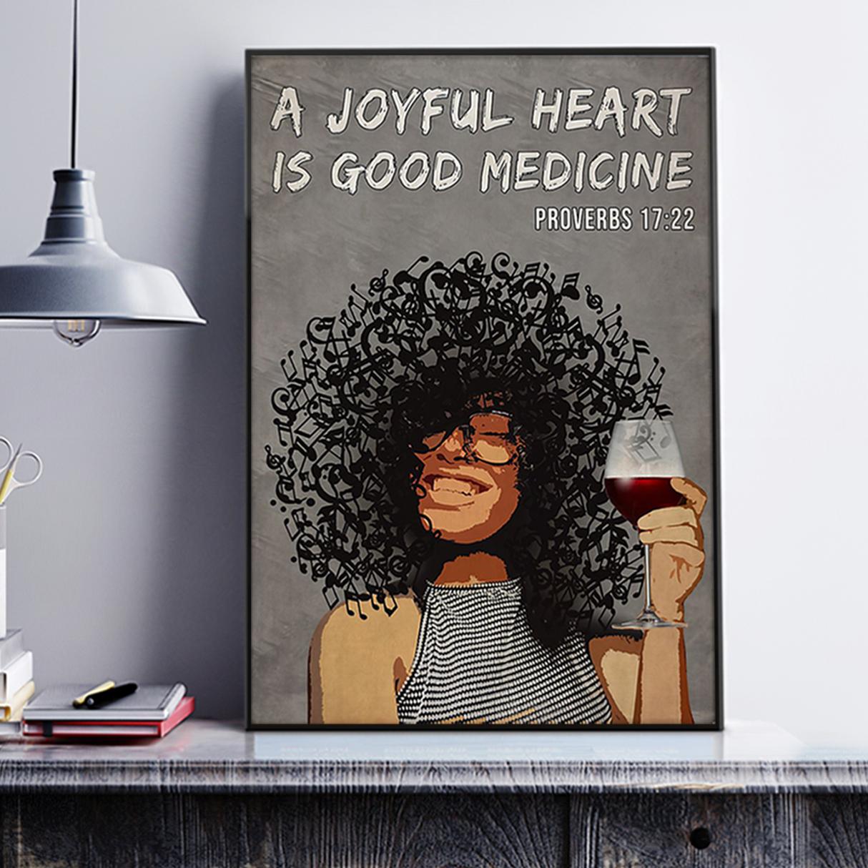 Afro girl a joyful heart is good medicine poster A3