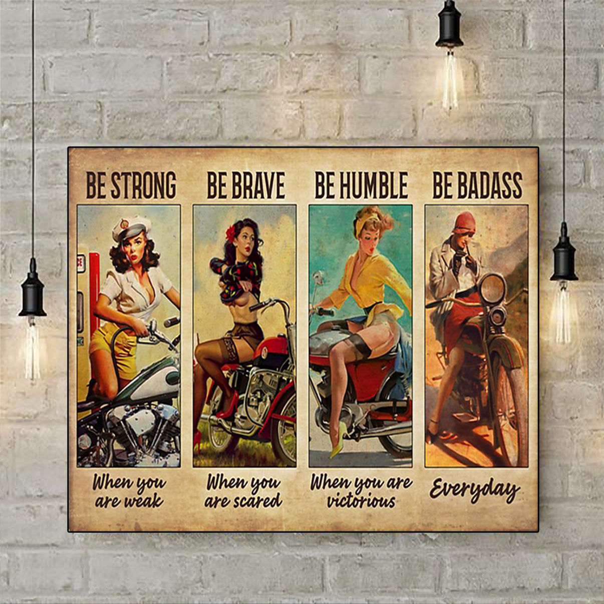 Biker girl be strong be brave be humble be badass poster A3