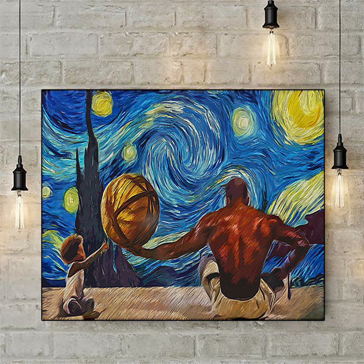 Black father and son starry night van gogh poster A1