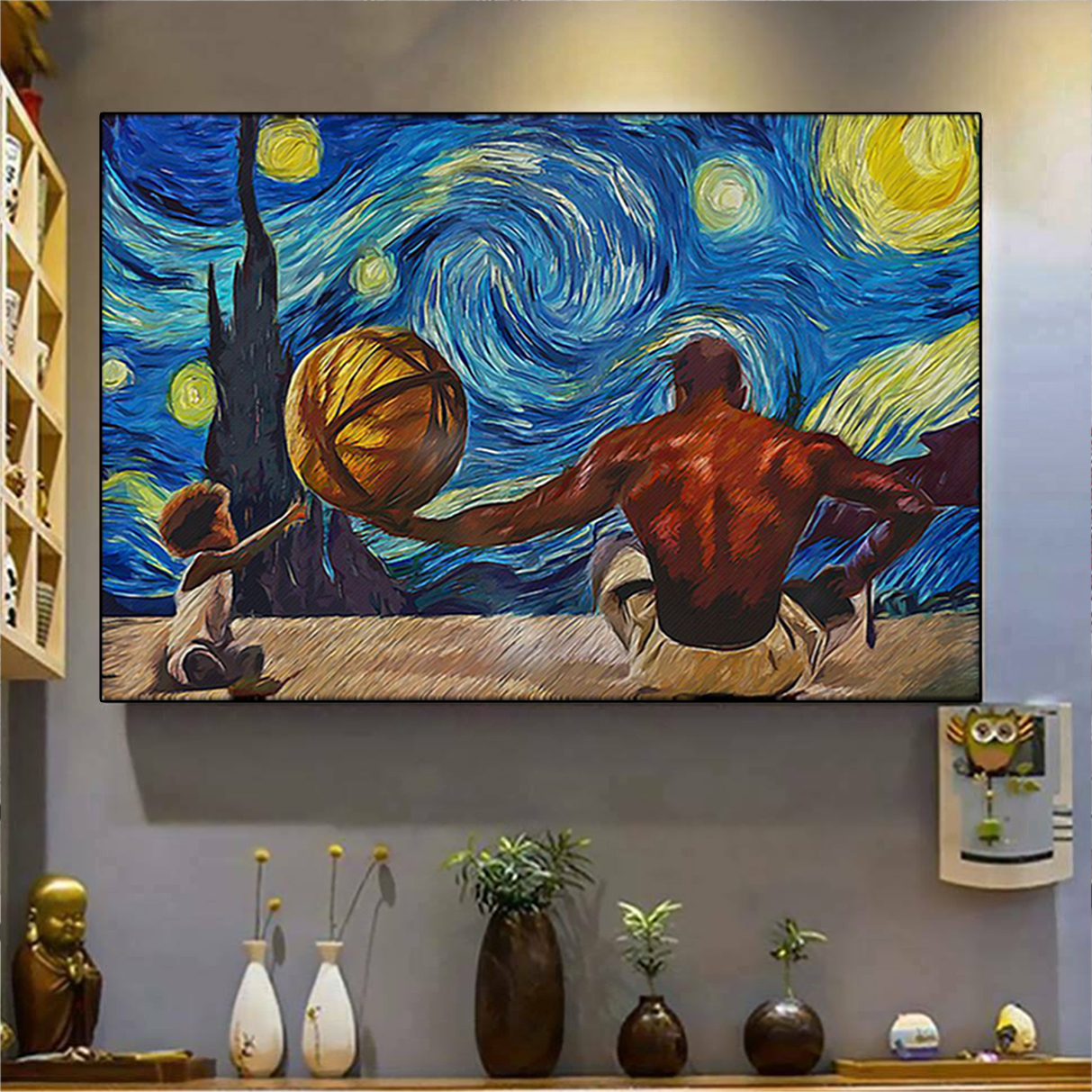 Black father and son starry night van gogh poster A2