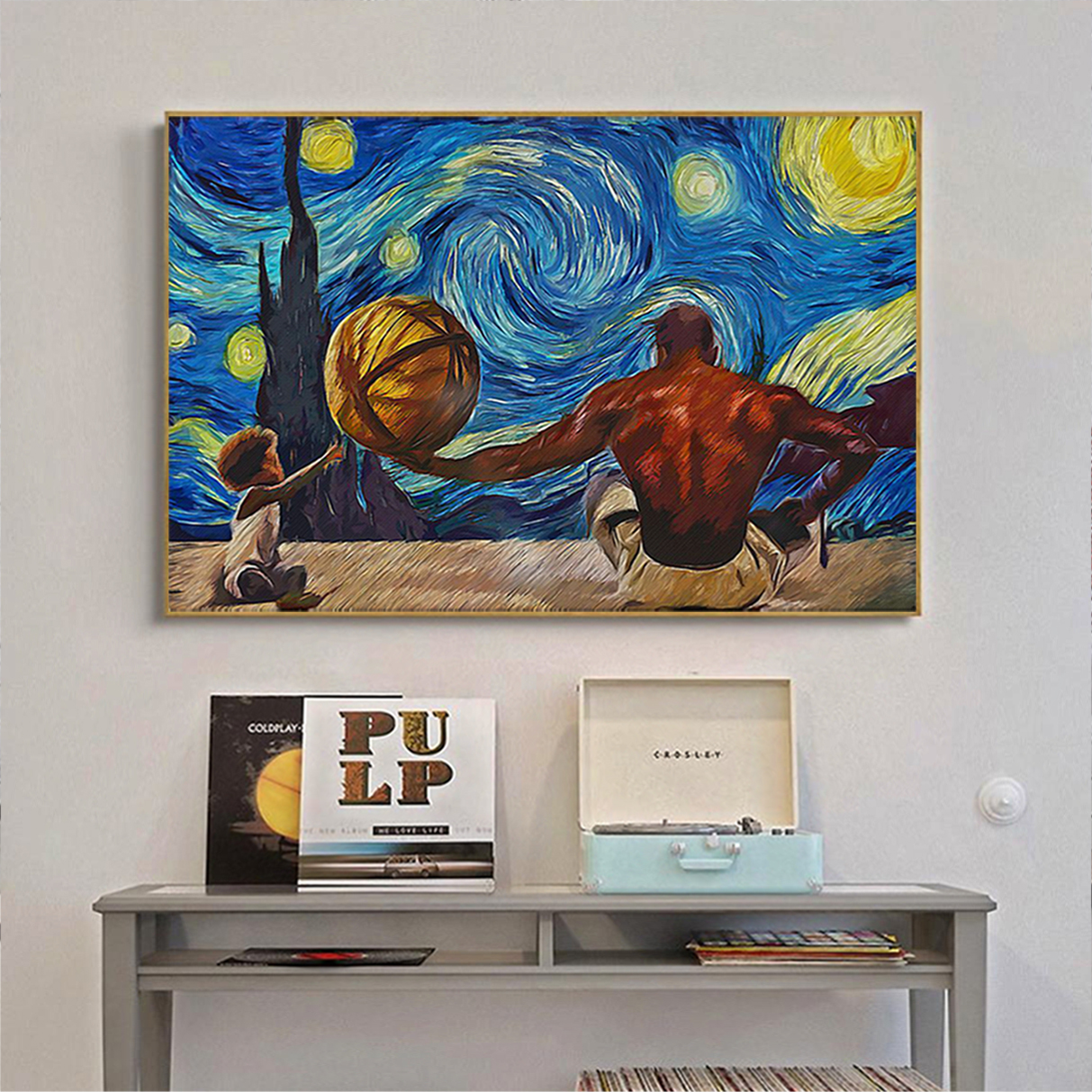 Black father and son starry night van gogh poster A3
