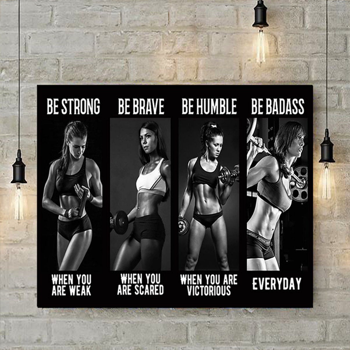 Bodybuilding girl be strong when you are weak poster A2