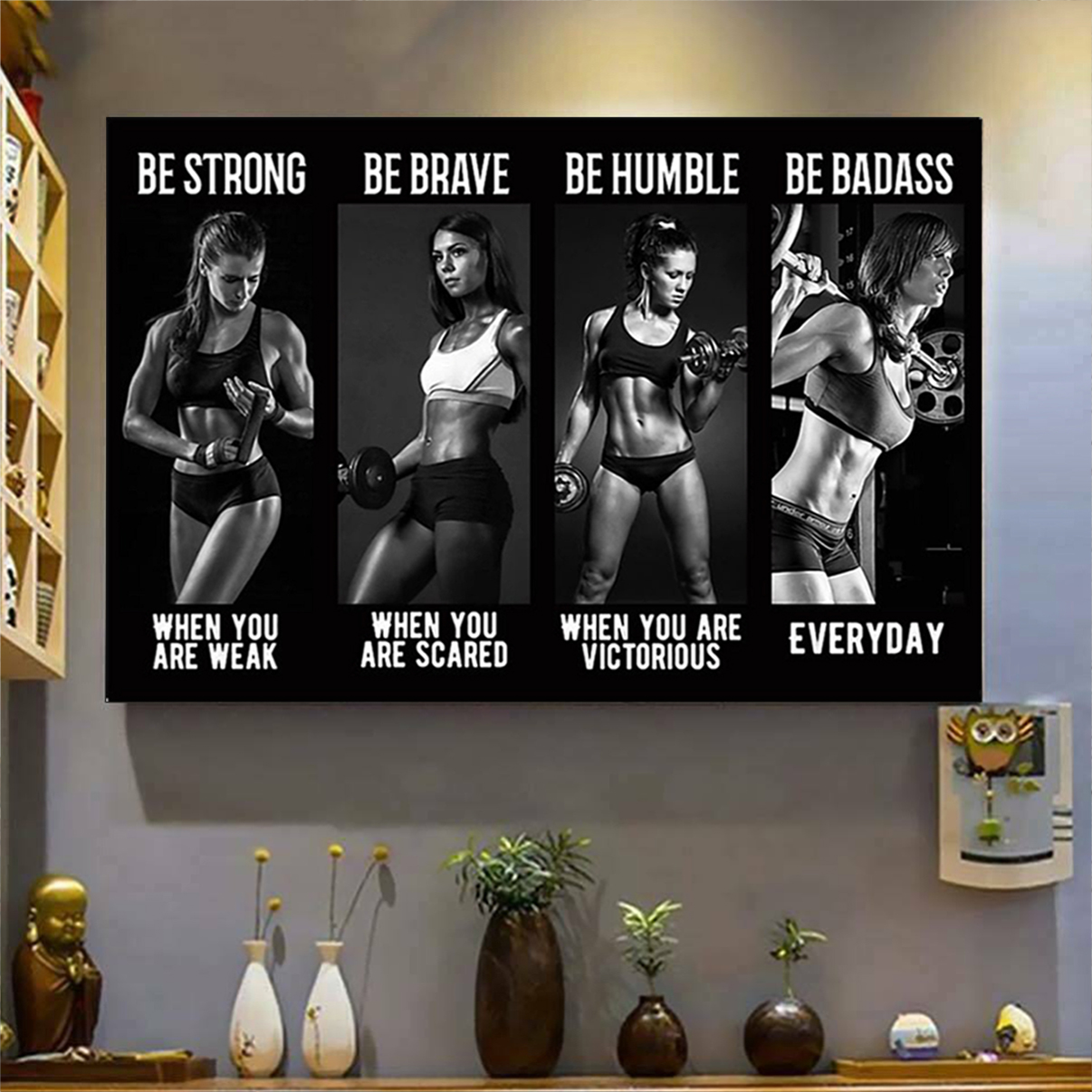 Bodybuilding girl be strong when you are weak poster A3